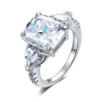 5 Carat Solid 925 Sterling Silver Ring Three-Stone Pageant Luxury Jewelry Simulated Diamond