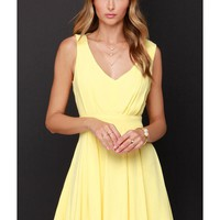 LUCLUC Yellow Pleated V-Neck Skater Dress - LUCLUC