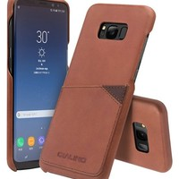Galaxy S8 / S8+ Leather Back Case with Card Holder - Qialino