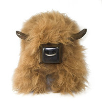 Highland Cow Shaped Sheepskin Footstool