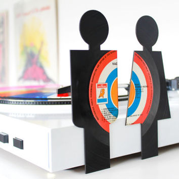 Lasercut Restroom Signs from Vinyl Records - Vader Abraham set