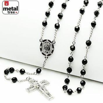 "Jewelry Kay style Men's Silver Black 6mm Bead Guadalupe Jesus Cross 28"" Rosary Necklace HR 600 SBK"