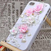 handmade iphone 4s case, flowers iphone 4 case iphone cover skin iphone 5 case - lovely peral heart iphone 5 case