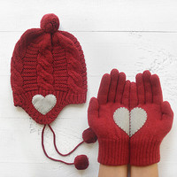 CHRISTMAS Gift, SPECIAL PRICE Hat Gloves Sets, Heart Gloves, Pompom Hat, Plait, Burgundy, Cherry, Special Gift, Xmas Gift, Holiday Gift