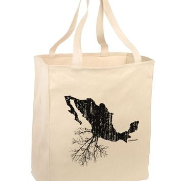 Mexican Roots Design - Distressed Large Grocery Tote Bag by TooLoud