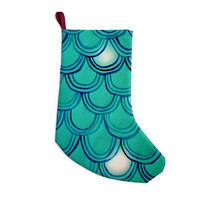 "Theresa Giolzetti ""Mermaid Tail"" Teal Blue Christmas Stocking"