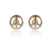 River Island Womens Gold tone tiny peace stud earrings