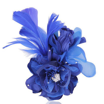 Cloth corsage Flower Feather Hair Clip Fascinator Wedding Party Headdress Feather Flower Cocktail Hair Clip Hair accessory