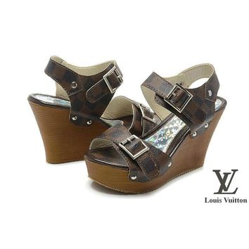 Louis Vuitton Women Fashion Platform Heels Sandals Shoes-5