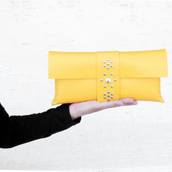 Womens handmade yellow clutch Vegan handbag clutch for her Ecofriendly vinyl envelope clutch purse for trendy womens  Personalized gift idea