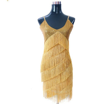 Stunning Stage Dance Costume 1920s Great Gatsby Style Sequin Tassel V-Neck Cocktail Latin Party DressFringed Flapper Dresses