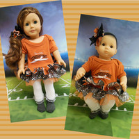 "American girl doll clothes Bitty Baby doll clothes RESERVED ""Go Longhorns!"" (18 inch or 15 inch) University of Texas dress  hair clip"