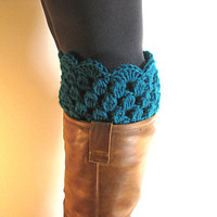 Boot Cuffs Teal Lace Boot Toppers Blue Green Bootcuffs Crochet Leg Warmers Sock Tops