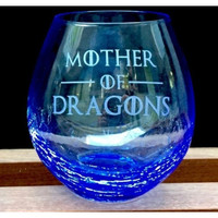 Crackle Wine Glass with Game of Thrones Quotes, Deep Etched