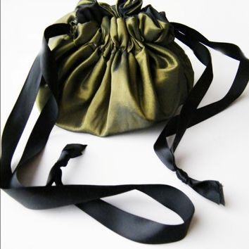 Steampunk Purse Reversable Draw String Taffeta and Cotton-Custom to order