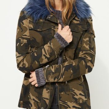 Camo Teal Faux Fur Trimmed Anorak