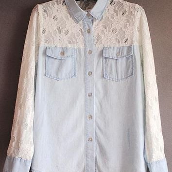 Lace Denim Shirt$48