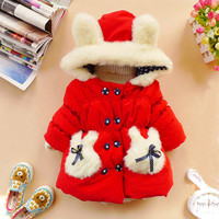 2y,3y,4y,5y toddler girl CHRISTMAS RABBIT clothes girl coat girl clothes winter coat kids red rabbit
