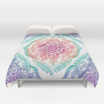 Indian Ink - Rainbow version Duvet Cover by Micklyn