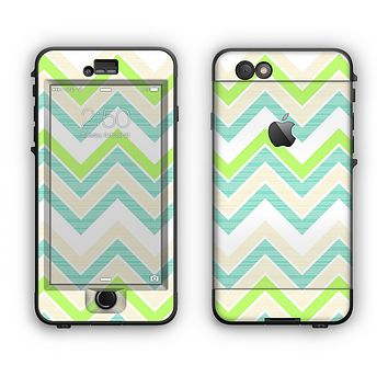 The Vibrant Green Vintage Chevron Pattern Apple iPhone 6 Plus LifeProof Nuud Case Skin Set