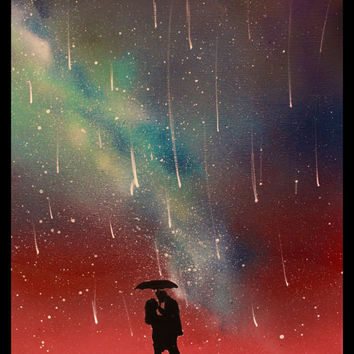 Wall Art Couple Umbrella Paintings Silhouette - Space Art - Falling Stars Raining -  Painting - Custom Paintings on Canvas - Spray Paint Art