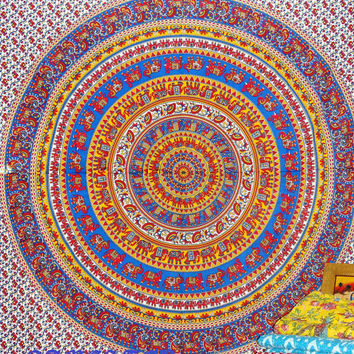 Elephant Mandala Hippie Tapetsry,Beach Sheet, Elephant Wall Decor, Bohemian Tapeastry,Throw Wall Hanigng,Indian Elephant Tapestry,Hippie Art