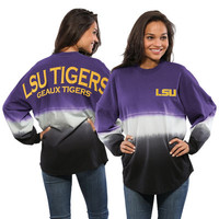 LSU Tigers Women's Ombre Long Sleeve Dip-Dyed Spirit Jersey - Purple