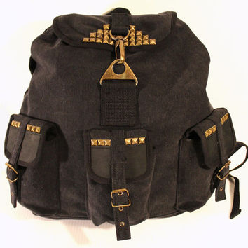 Studded Vintage Army Utility Backpack Black Canvas with Leather Accents - Free Shipping