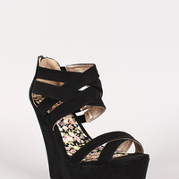 Qupid Finder-228 Strappy Open Toe Platform Wedge
