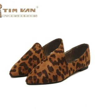 new arrival spring women flat-bottomed small pointed toe flat heel single autumn women's plus size 40 - 43 shoes leopard print