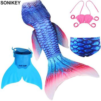 Girl's Little Mermaid Tail with Monofin Kids Child Costumes Cosplay Swimming Mermaid Tail Swimmable Swimsuit Flipper for girls