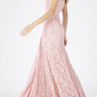 White/Pink BCBG Sonya Sleeveless Lace-Blocked Gown