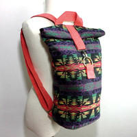 Stylish African Backpack, Tribal Aztec Print Backpack, Hipster Camera Backpack, Unisex Foldover Daypack, Small Canvas Backpack, YKK zipper,