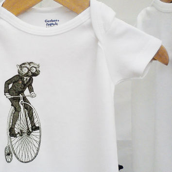 Organic bicycle Onesuit hipster baby clothes by BoogalooBubbywear