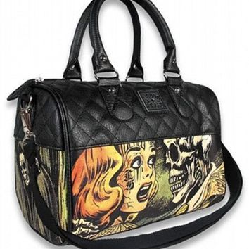 "Women's ""Horror"" Round Handbag by Liquorbrand (Black)"