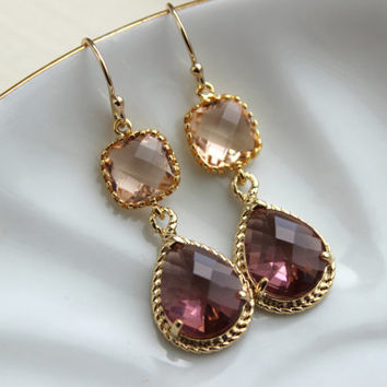 Blush Champagne Eggplant Earrings Gold Purple Earrings Two Tier Bridesmaid Earrings Wedding Earrings Wedding Jewelry Plum Bridesmaid Jewelry