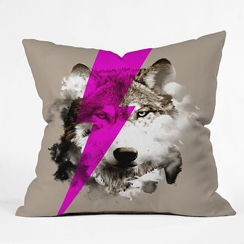 Robert Farkas Wolf Rocks Throw Pillow