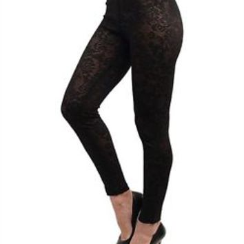 Women Black Floral Mesh Semi-Sheer Footless Lace Leggings