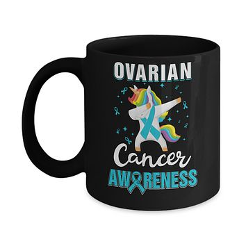 Inspirational Ovarian Cancer Awareness Unicorn Support Mug