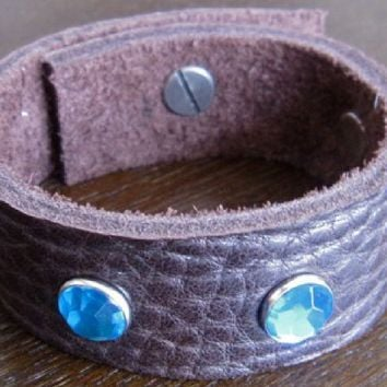 Leather Bracelet - Brown Leather Cuff. With Large Blue Crystals