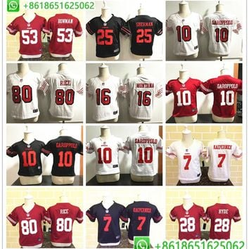Toddler San Francisco Jimmy Garoppolo Joe Montana Jerry Rice Richard Sherman Colin Kaepernick football jerseys