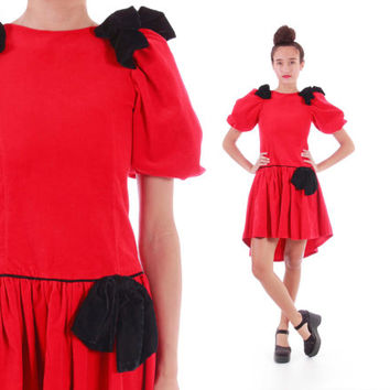 Red Velvet Kawaii Goth Party Dress late 80s 90's Club Kid Lolita Avant Garde Big Bow High Low Vintage Clothing Womens Size XS Small