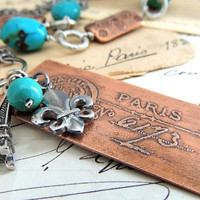Paris Etched Copper Necklace, Charm Necklace, Turquoise Nuggets, Paris Postmark, French Eiffel Tower, Fleur di Lis, Travel, Front Closure