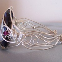 Handmade hand enameled wire wrapped American Eagle fused glass brace