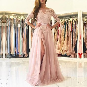 Blush Pink Illusion Long Sleeve Prom Dress,High Slit Formal Gown Lace Appliqus