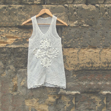 Summer White Crochet Cotton Top for Women, Handmade Top, Natural Materials