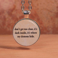 Imagine Dragons Demons Lyrics Song Text Poem Pendant Necklace