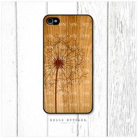 iPhone 4 and 4S case Dandelion on Wooden Texture by HelloNutcase