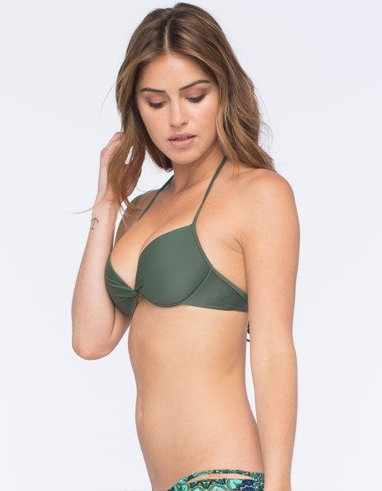 2f85aedd22a Full Tilt Solid Underwire Halter Bikini Top Olive In Sizes