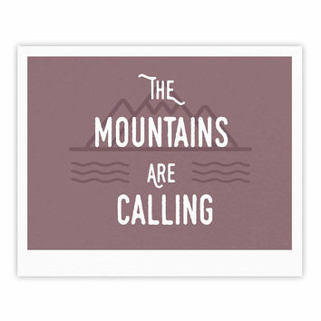 "Jackie Rose ""The Mountains Are Calling"" Purple Typography Fine Art Gallery Print"